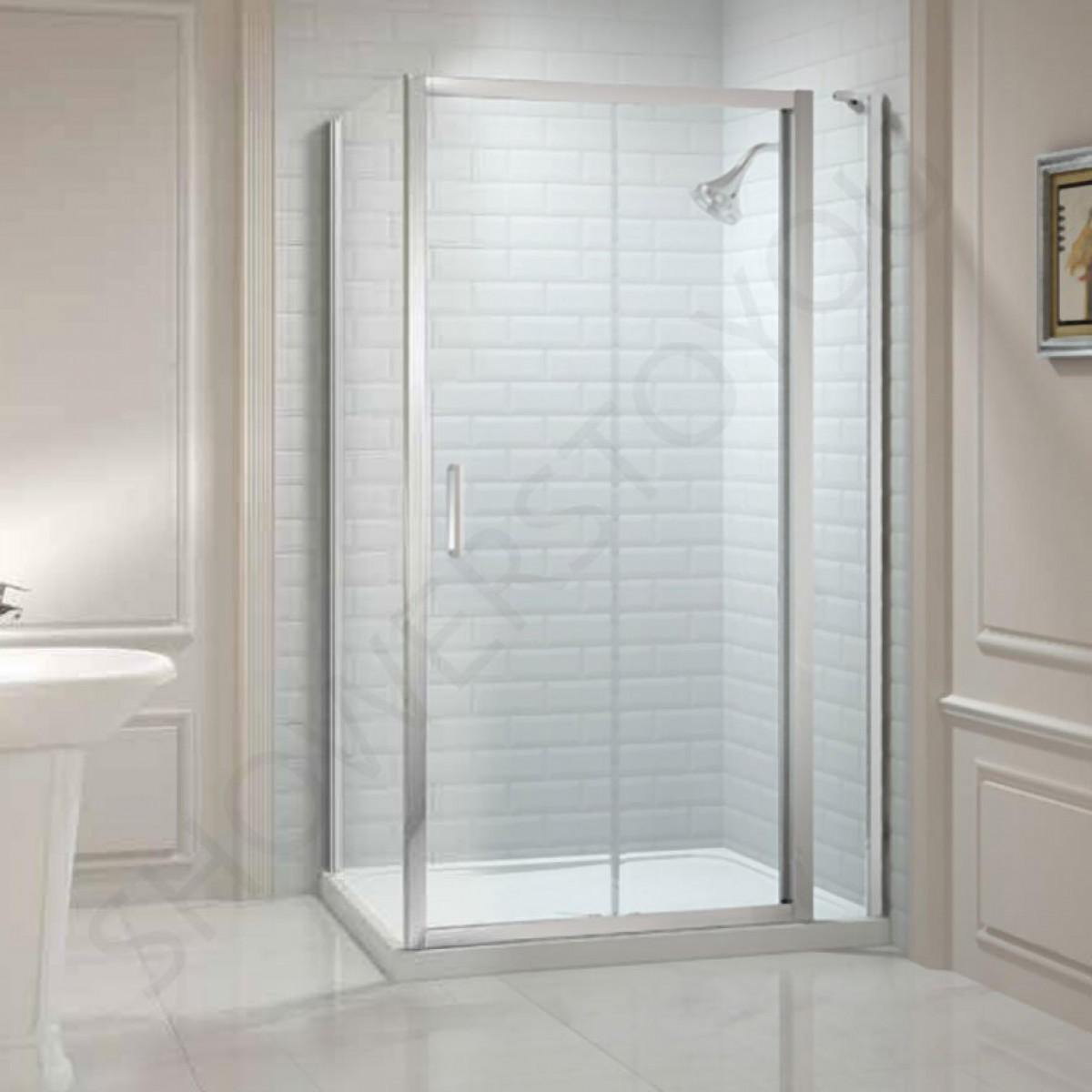 Merlyn 8 series 1200mm sliding shower door and inline panel for 1200mm shower door sliding