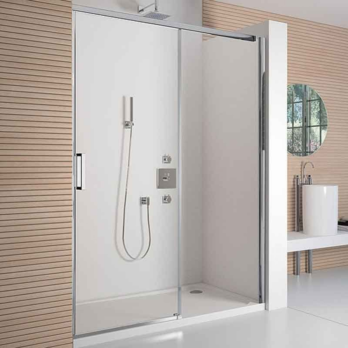 Merlyn 8 series 1200mm polished chrome frameless sliding for 1200mm shower door sliding
