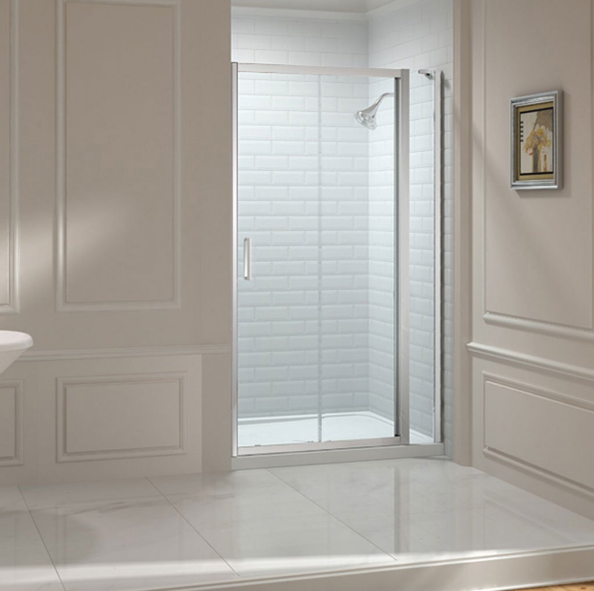 Merlyn 8 series 1300mm sliding shower door and inline panel for 1300 sliding shower door