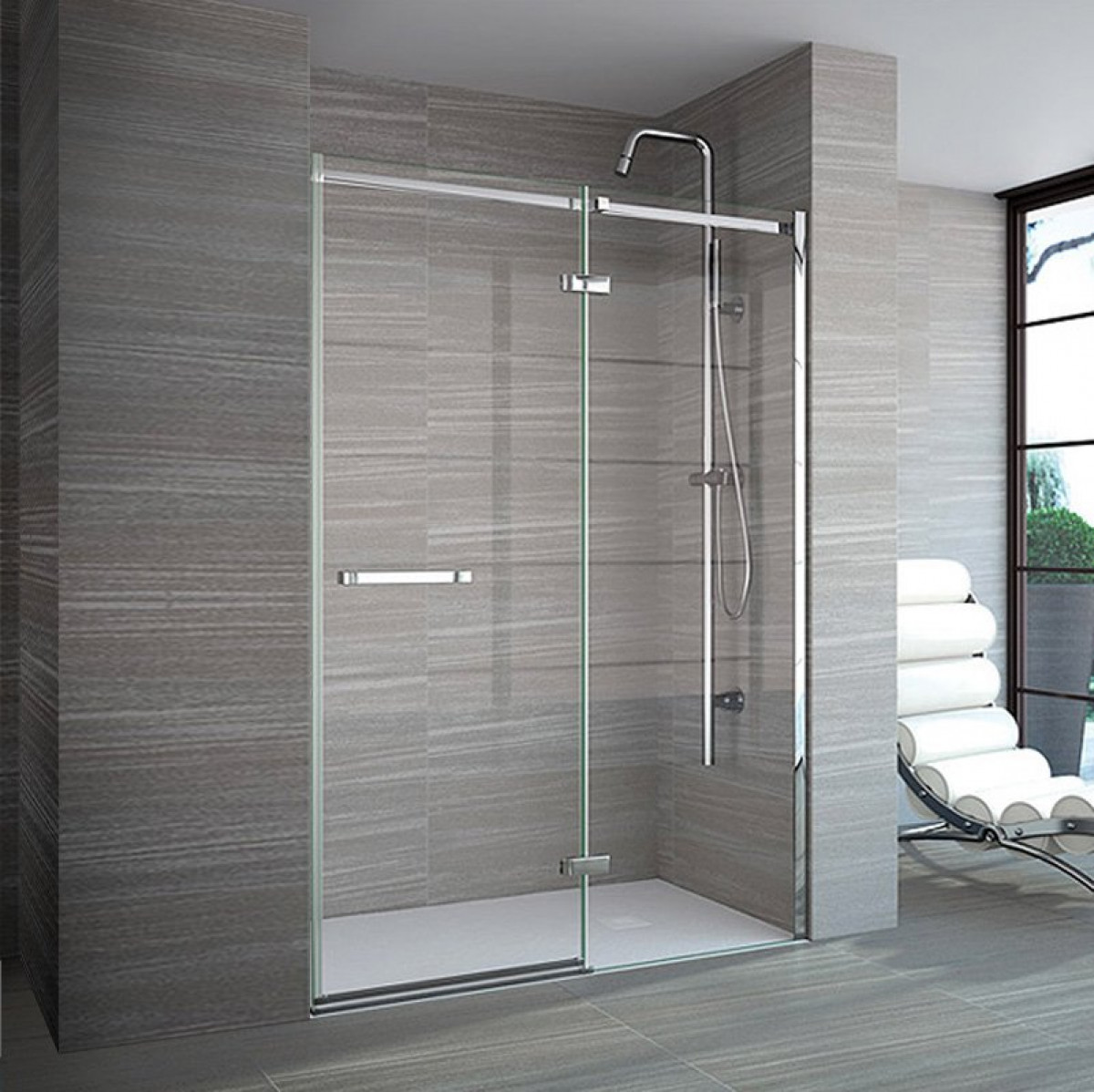 Merlyn 8 series frameless 1200 mm hinge inline shower door for 1200 hinged shower door