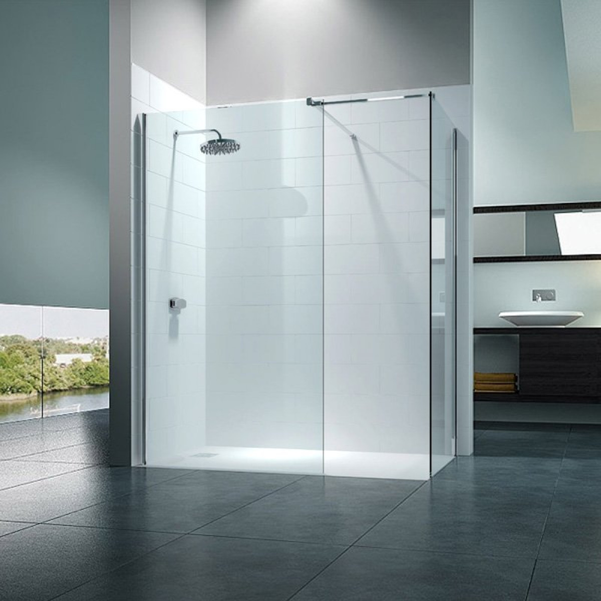 Merlyn 8 Series Walk In 1200 x 800mm Frameless Shower Enclosure ...