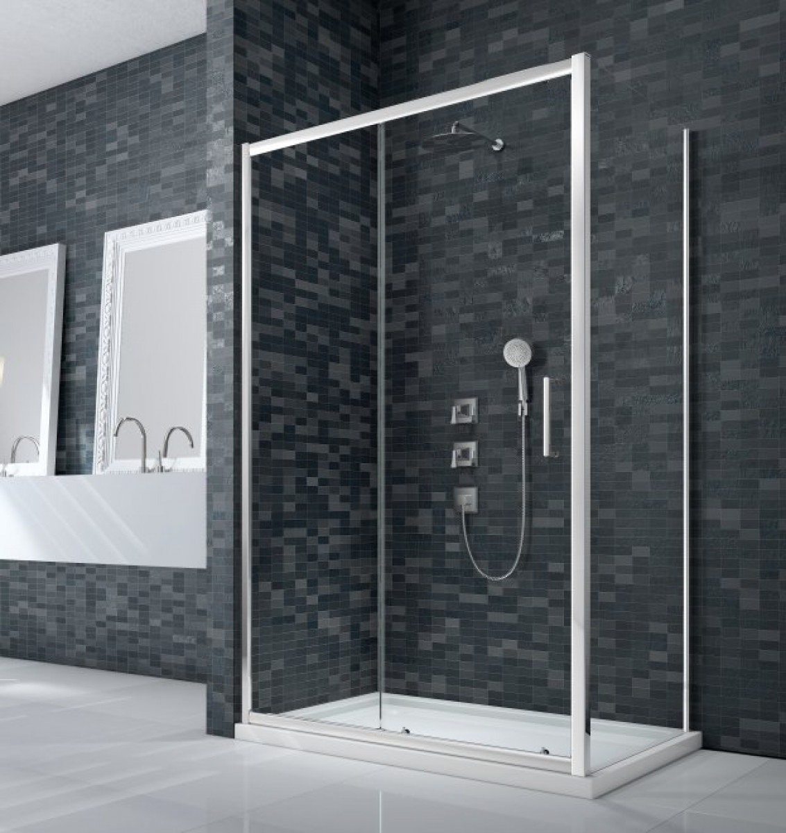 Merlyn essence framed 1200mm sliding shower door for 1200mm shower door sliding