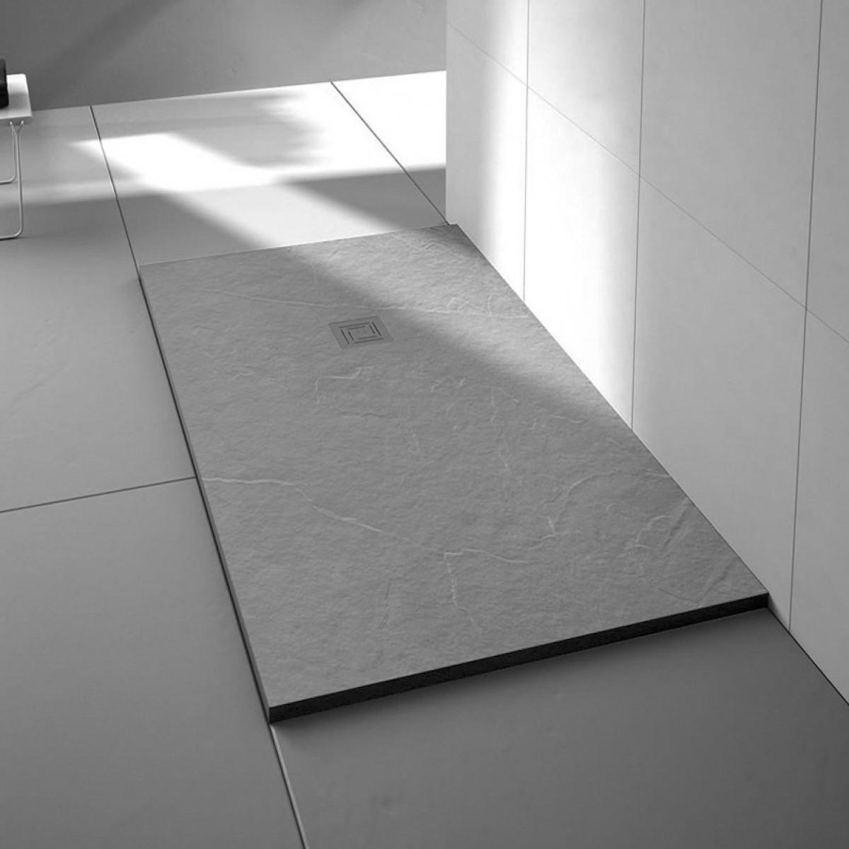 Merlyn Truestone Rectangular Shower Tray 1000 x 800mm Fossil Grey ...
