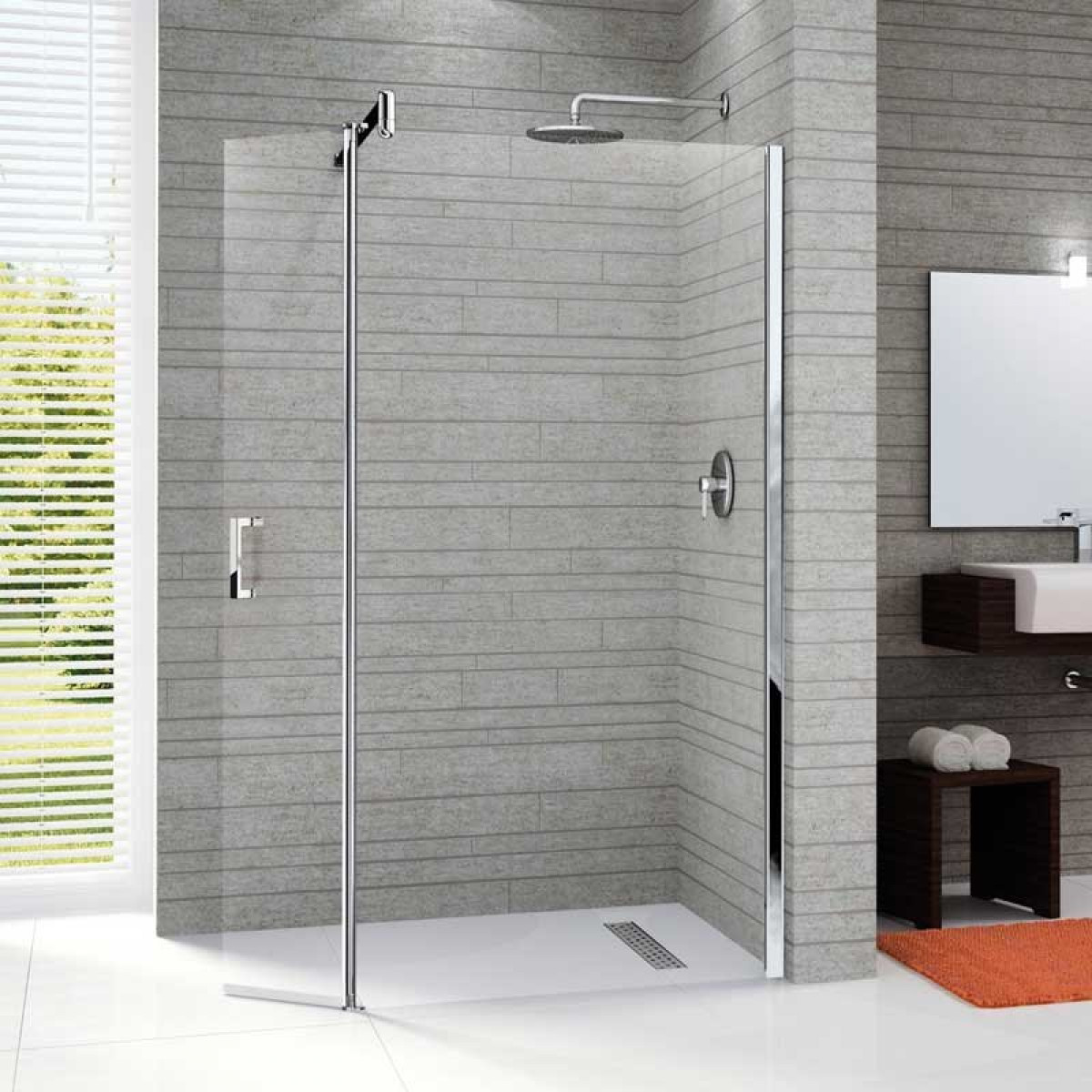Novellini Go 2 Pivot & Straight 680mm Walk in Shower Panel | GON268-1K