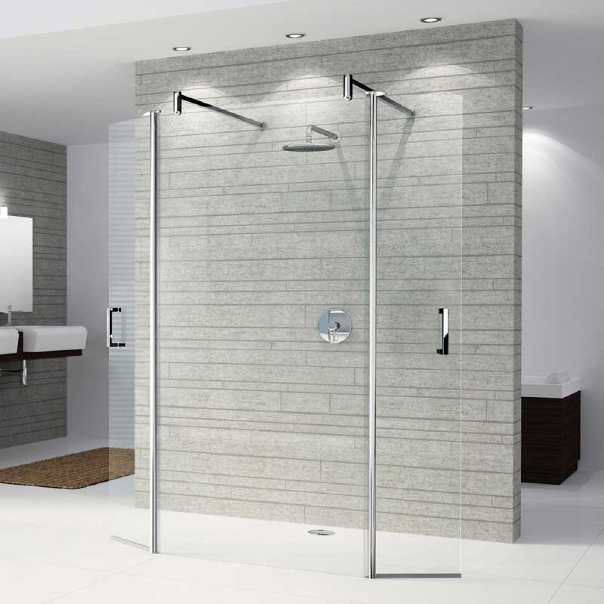 Walk In Standing Shower With Glass Wall And No Door No Ledge Floor Is Continuous 10 Walk In