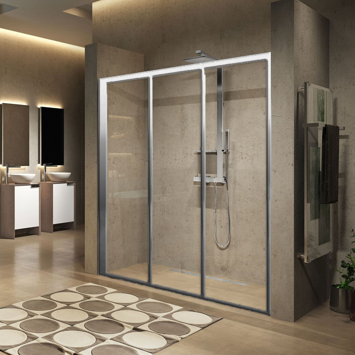 Novellini Lunes 2 0 3p Three Sliding Panel Shower Door