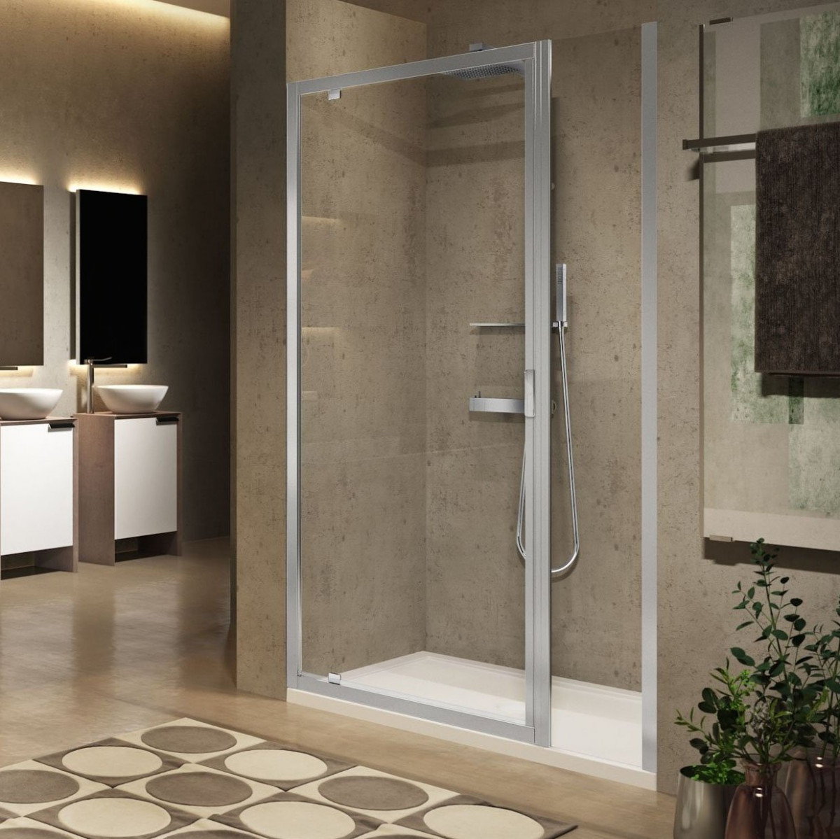 Novellini lunes 2 0 g f pivot shower door with fixed for Novellini shower doors