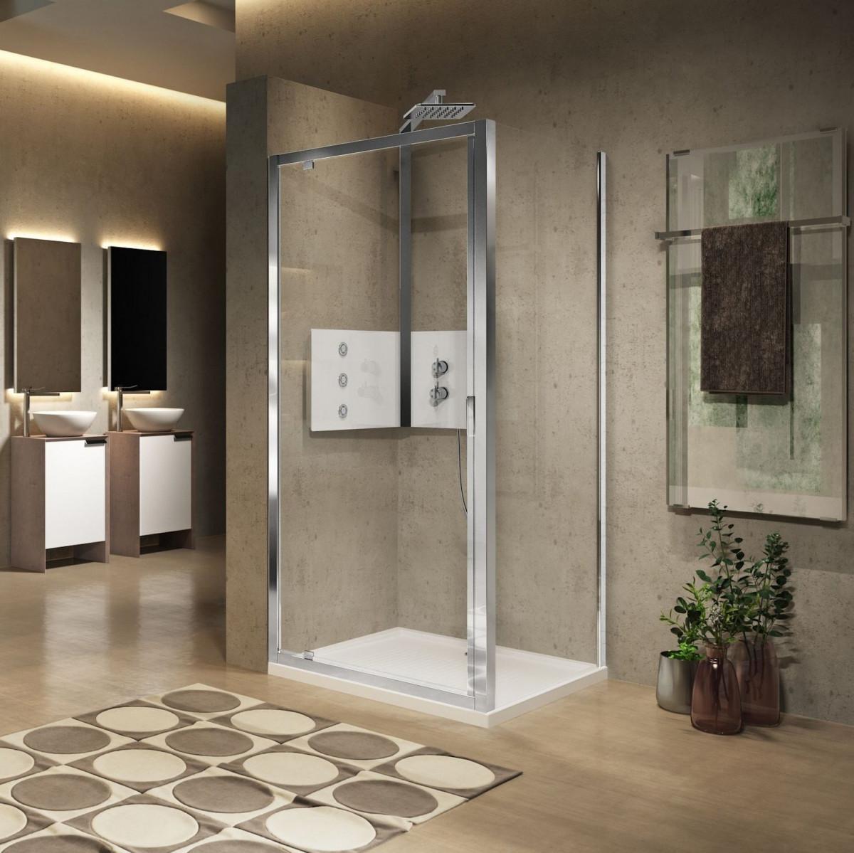 Novellini lunes 2 0 g pivot shower door 700mm lung66 1a for Novellini shower doors