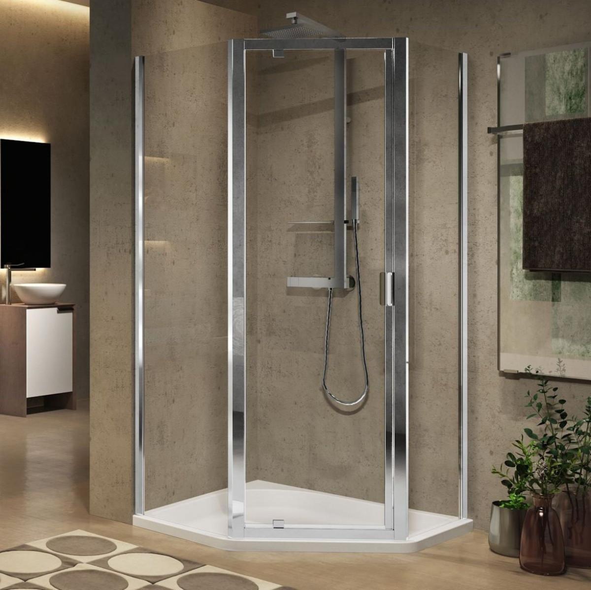 Novellini lunes 2 0 pentagonal g shower enclosure for Novellini shower doors