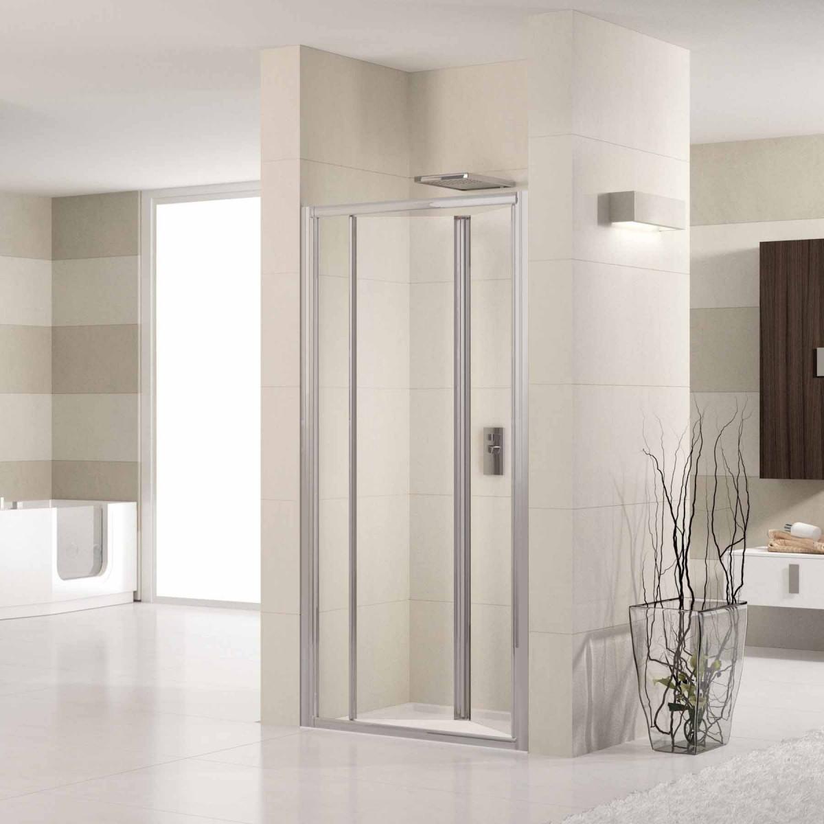 Novellini lunes 900mm bifold shower door luness84 for Novellini shower doors
