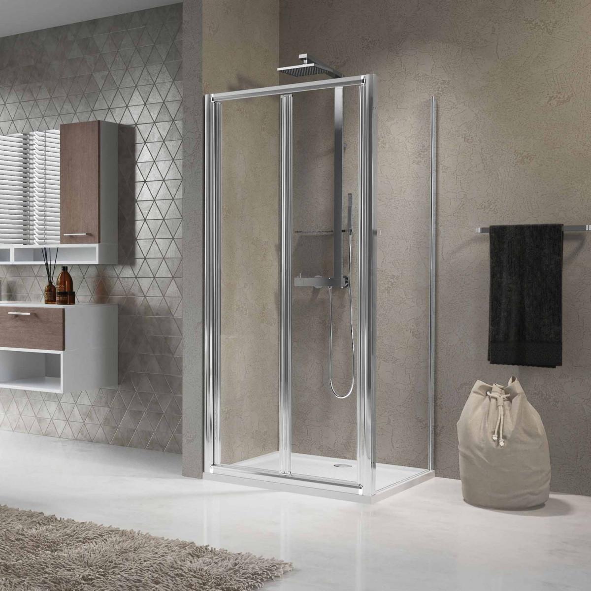 Novellini lunes 960mm bifold shower door luness90 for Novellini shower doors