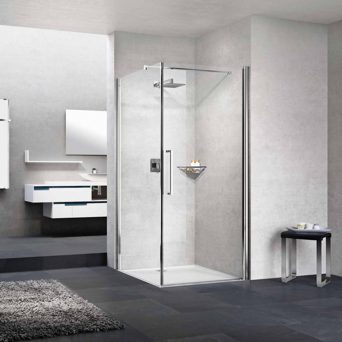 Novellini young hinged shower enclosure 970mm y2g851k for Novellini shower doors
