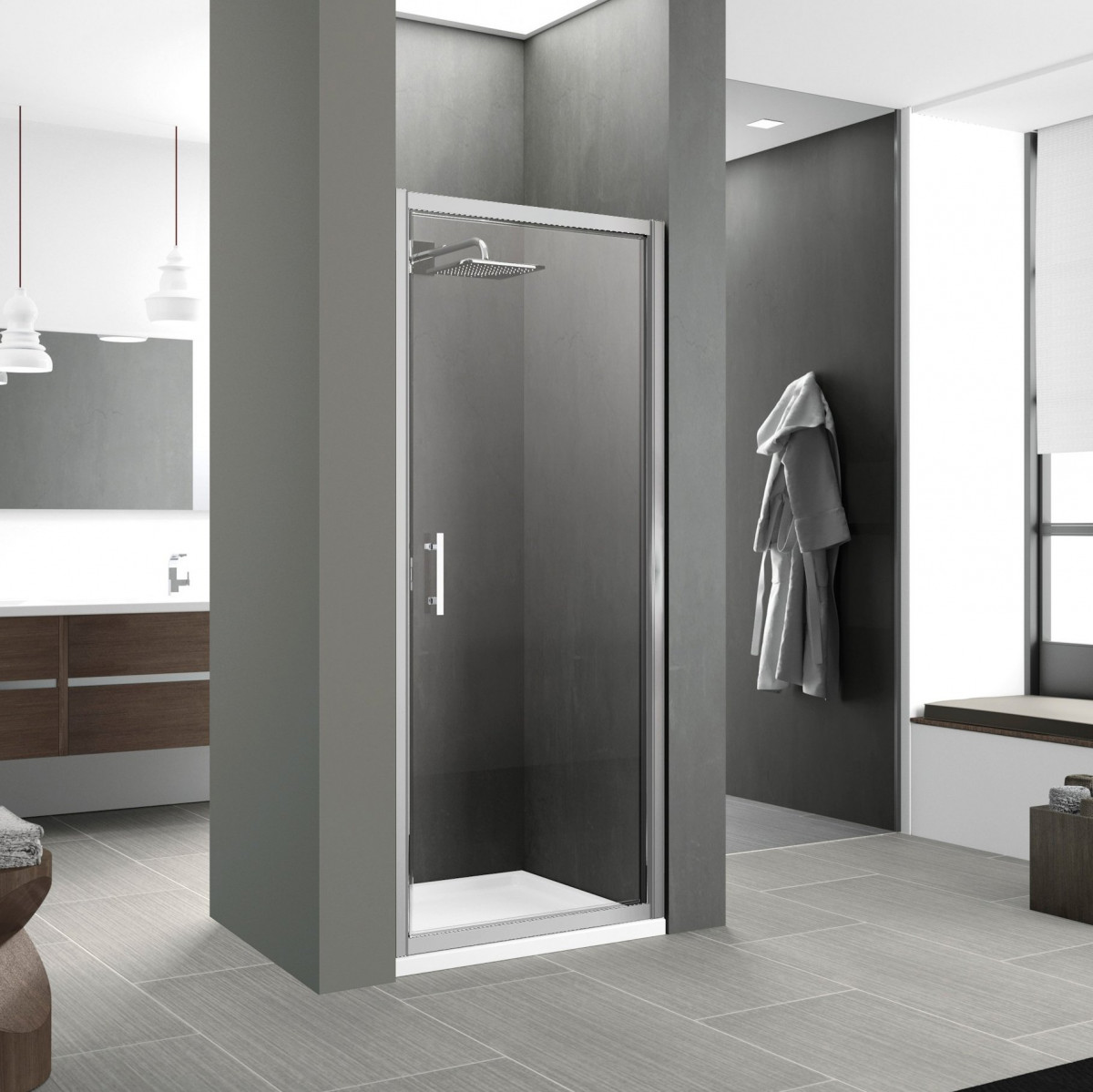 Novellini Zephyros G Hinged Shower Door 700mm