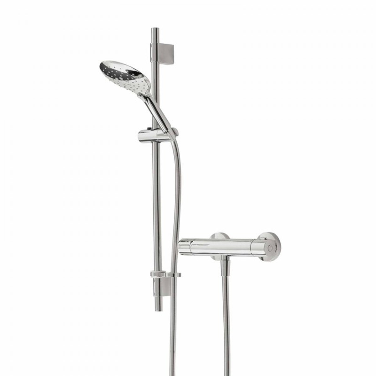 Bristan QST SQSHXAR C Quest Thermostatic Exposed Single Control Shower Valve with Adjustable Riser Kit Chrome Plated