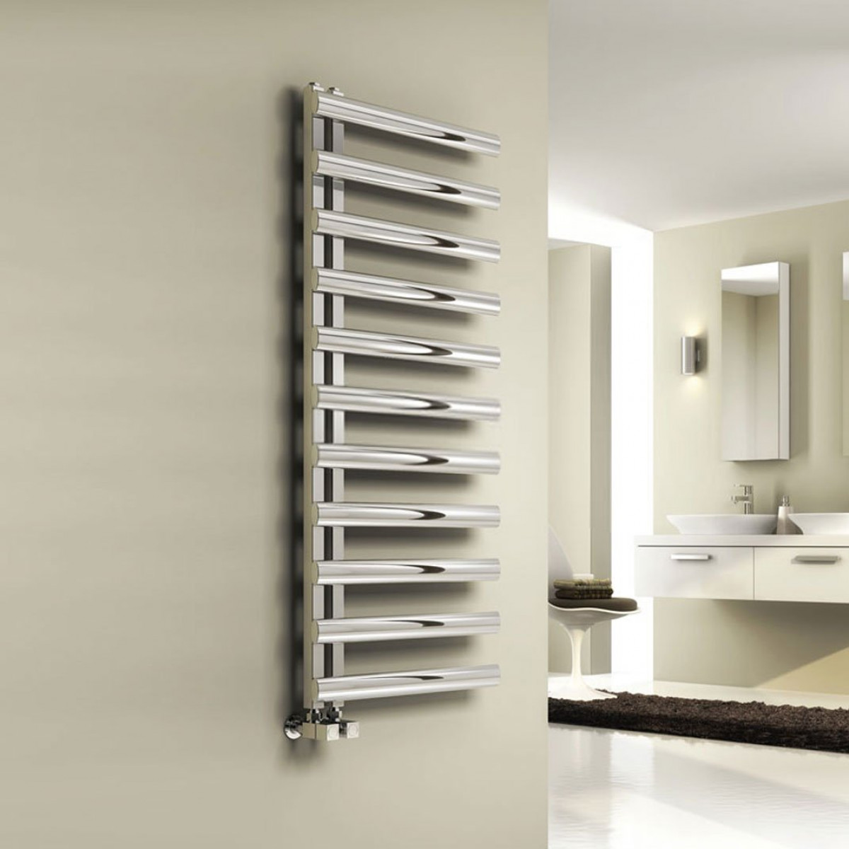 Stainless Steel Heated Towel Rail Radiator: Reina Cavo Stainless Steel Towel Radiator 880 X 500mm