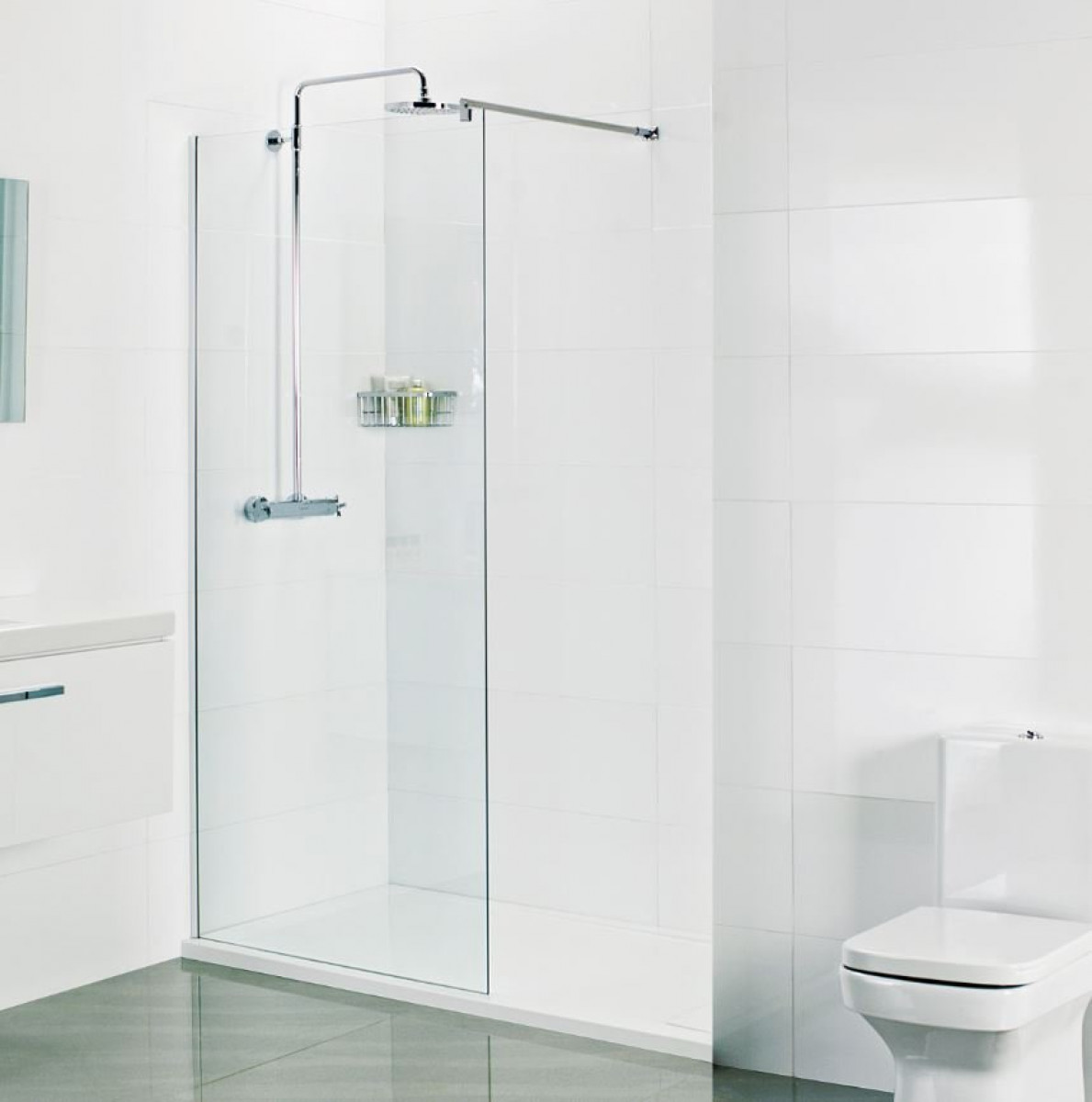 Roman 8mm Corner 600mm Wetroom Shower Panel