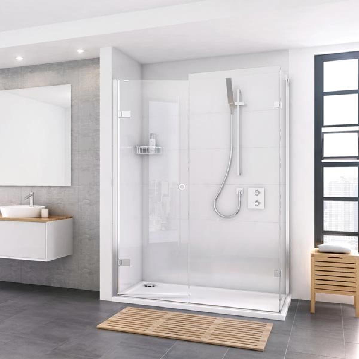 Roman Decem Inward Opening Hinged Shower Door Inline Side Panel 1600x900mm Dxl1hdr2fb
