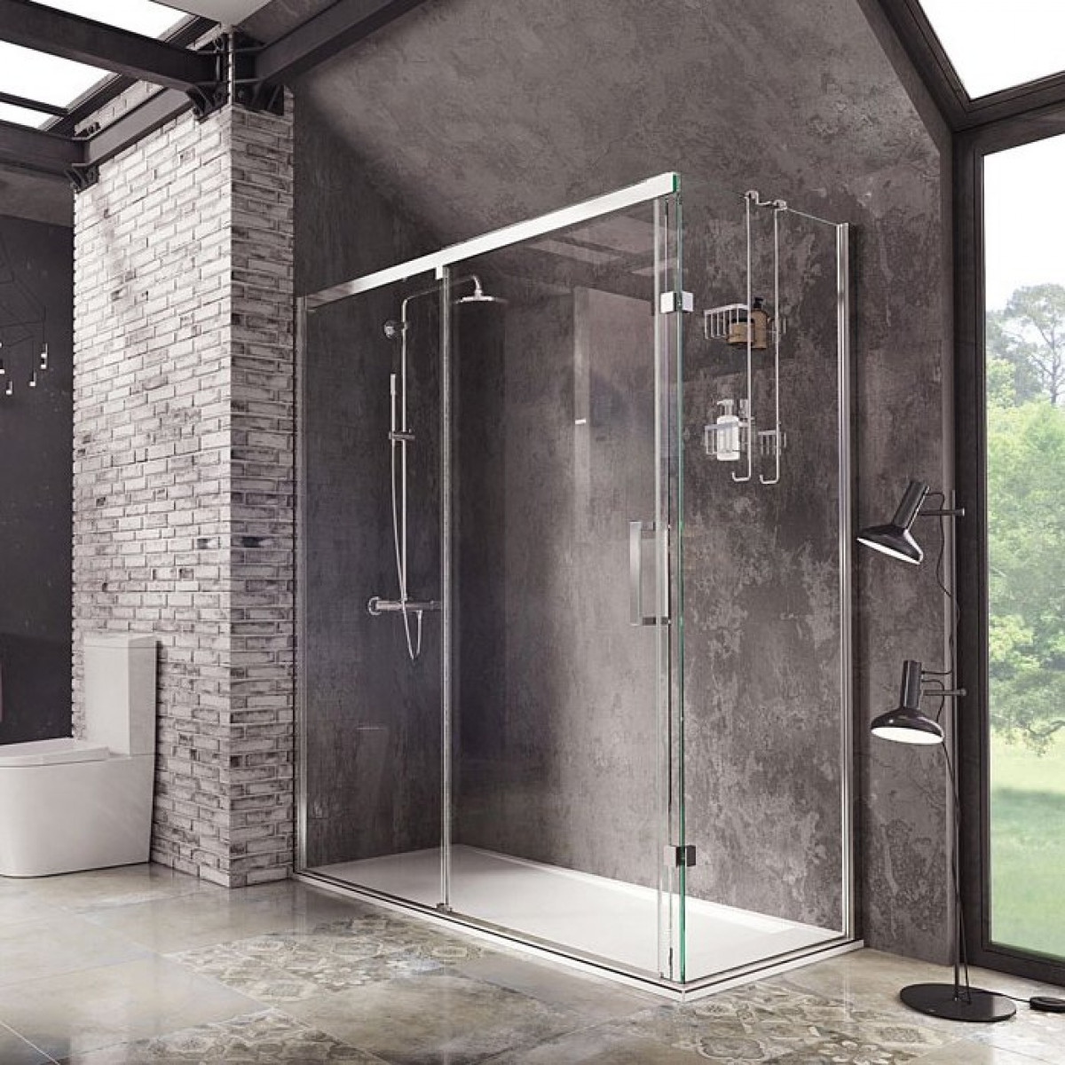 Roman Decem Sliding Door 1200 X 900mm Corner Fitting With