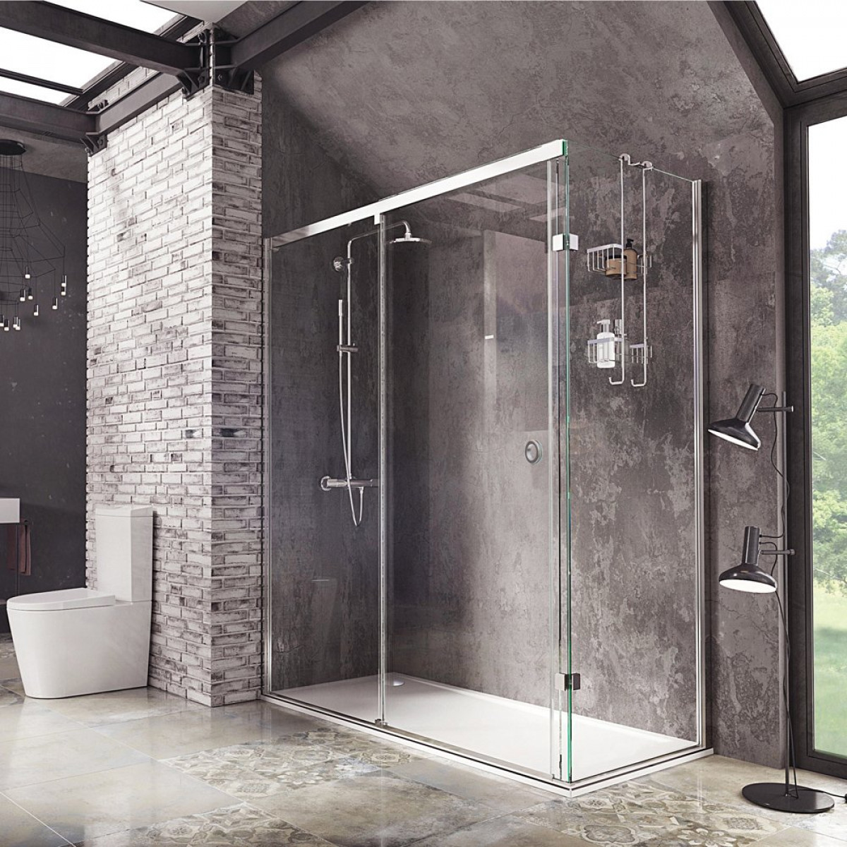 Roman Decem Sliding Door 1400 X 800mm Corner Fitting With