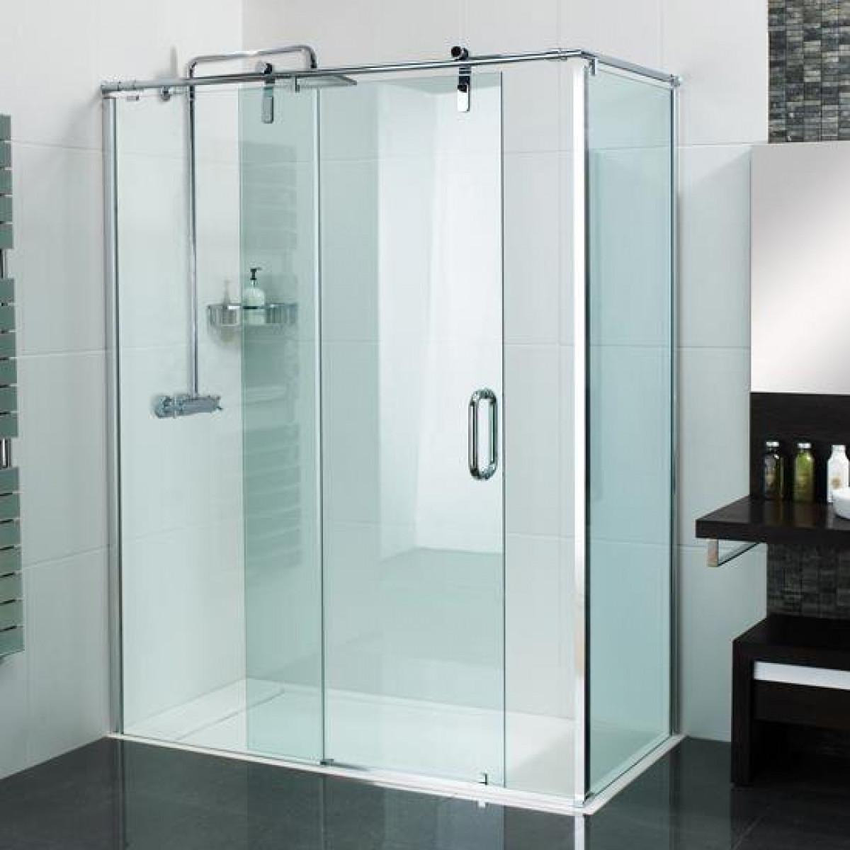 Roman Decemx Sliding Shower Door 1200 X 900mm Corner Fitting With Curved Hardware