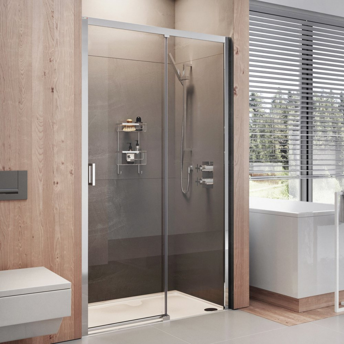 Roman lumin8 1200mm level access sliding door shower for 1200mm shower door sliding