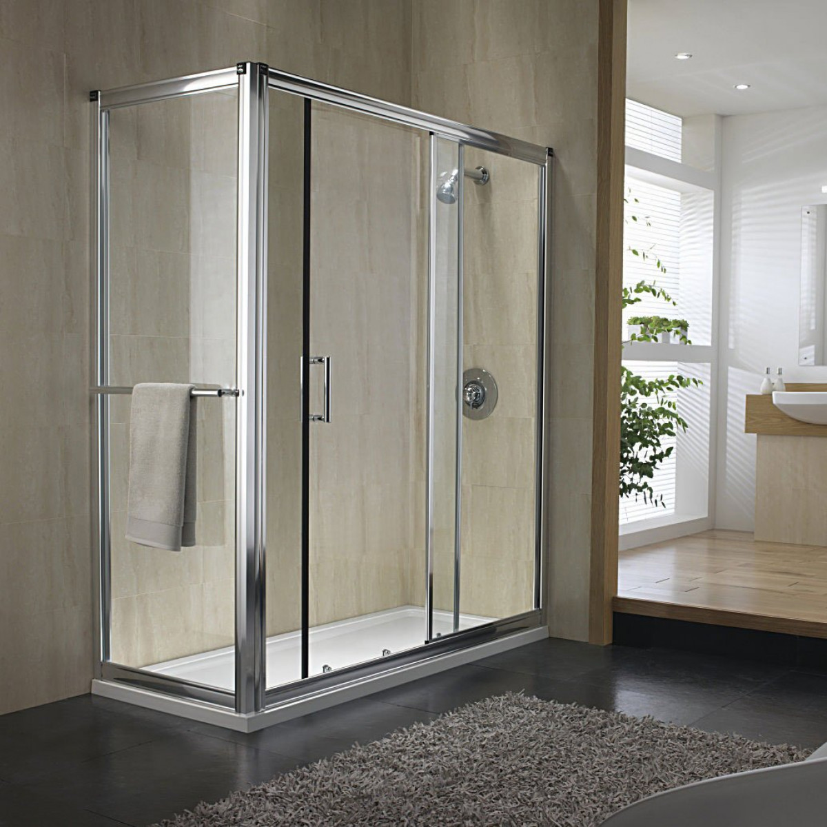 Twyford hydr8 1200mm sliding shower door h88500cp for 1200mm shower door sliding