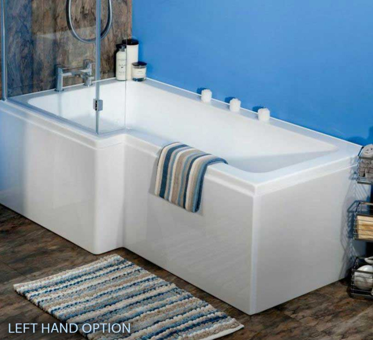 Ajax L Shaped 1700mm Shower Bath with Screen and Bath Panel Right Hand -