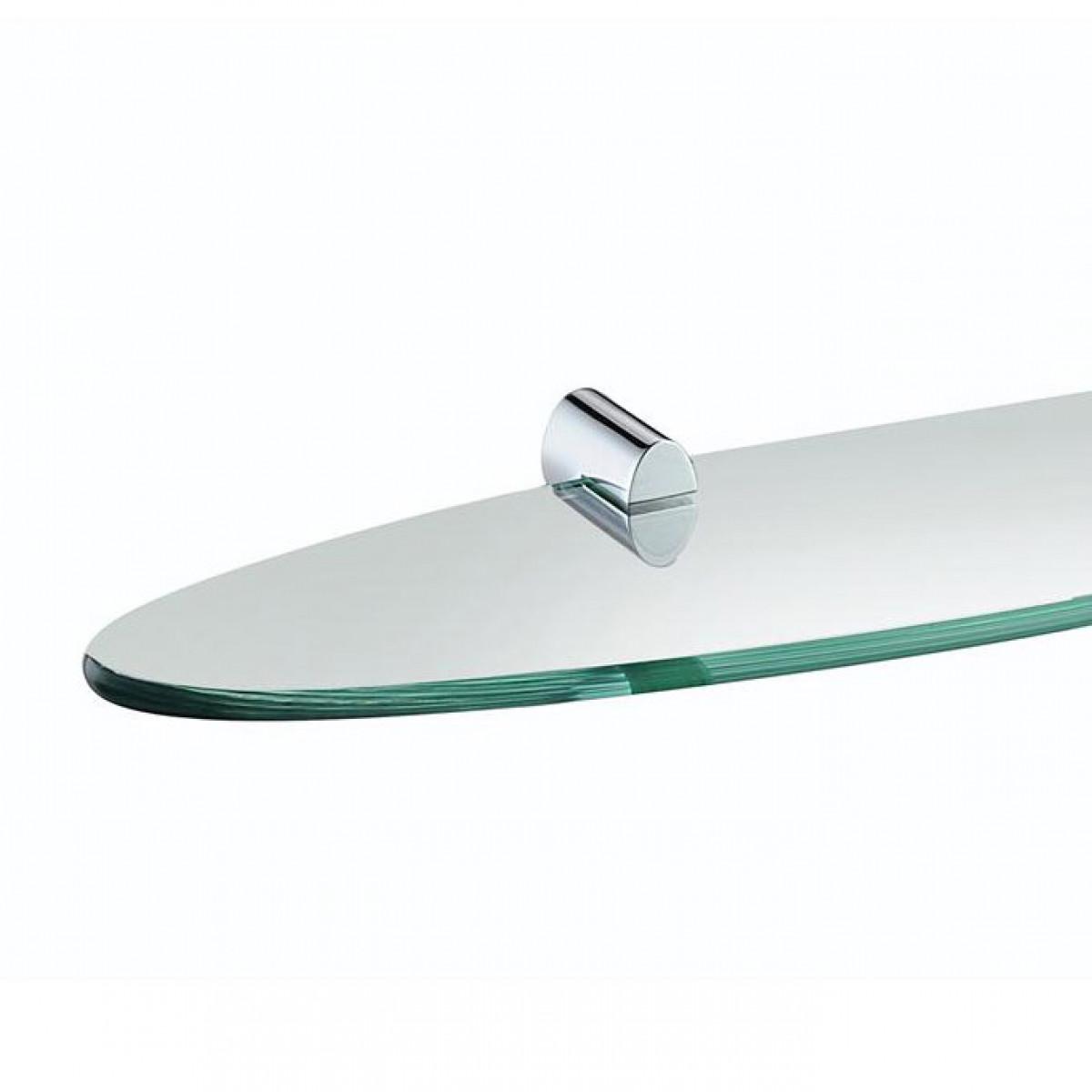 Bristan Oval Chrome 495mm Toughened Safety Glass Shelf