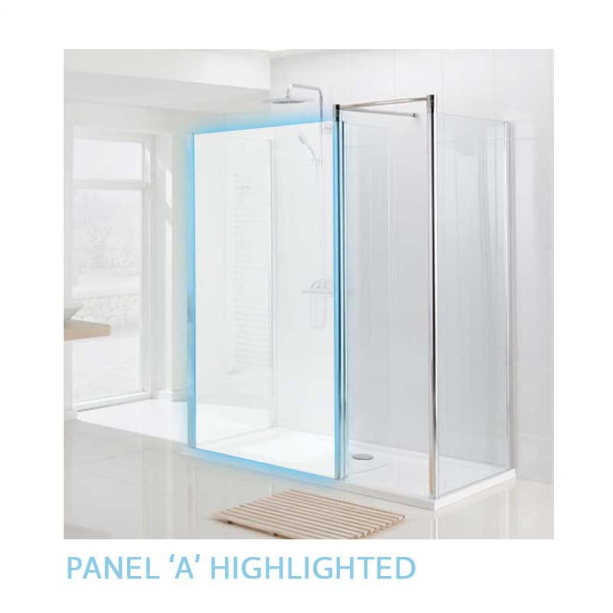 Lakes Mirror 1400mm Semi Frameless Walk In Shower Enclosure -