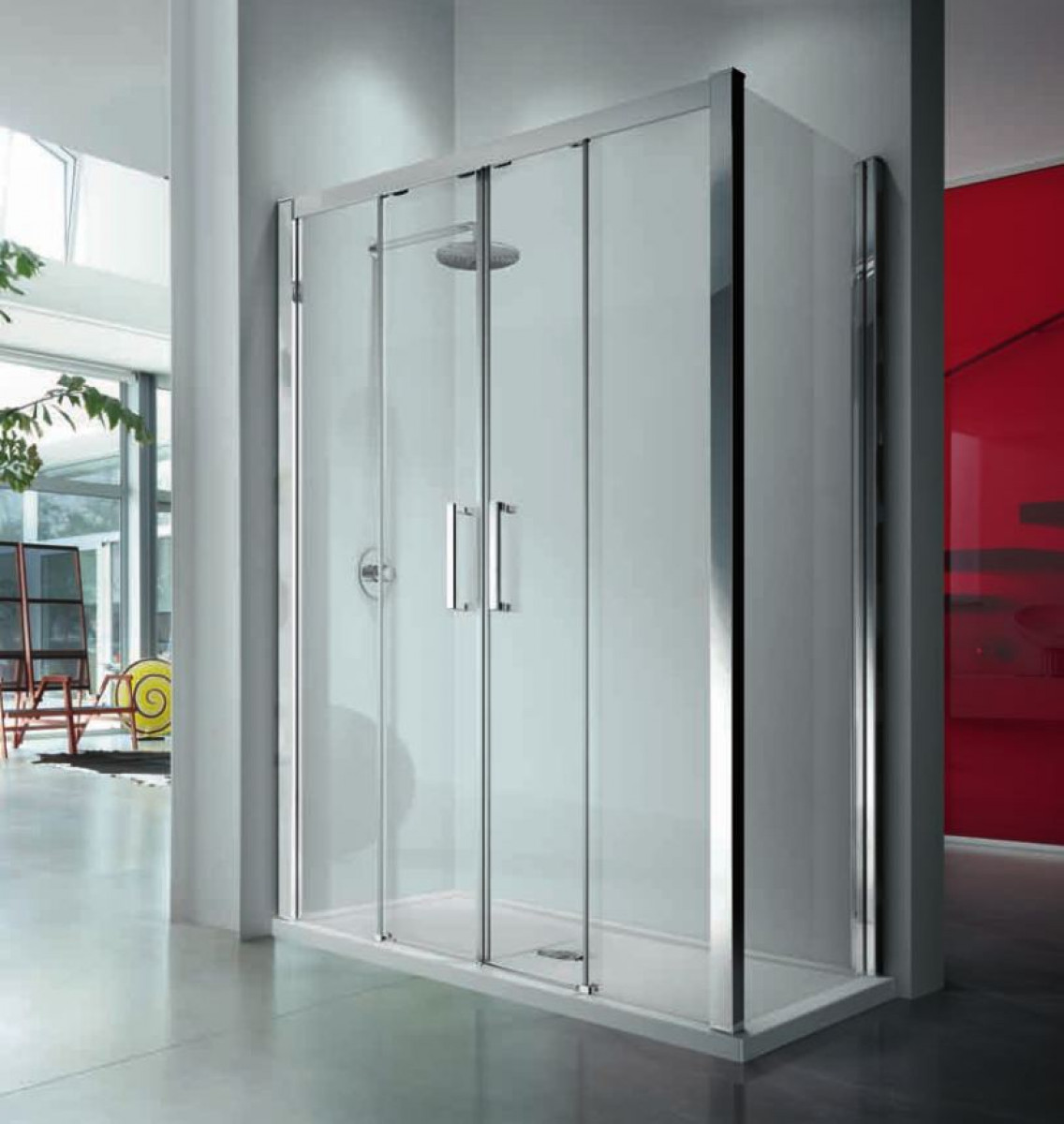 Novellini kuadra 2a double sliding 1600mm shower door for Double sliding doors