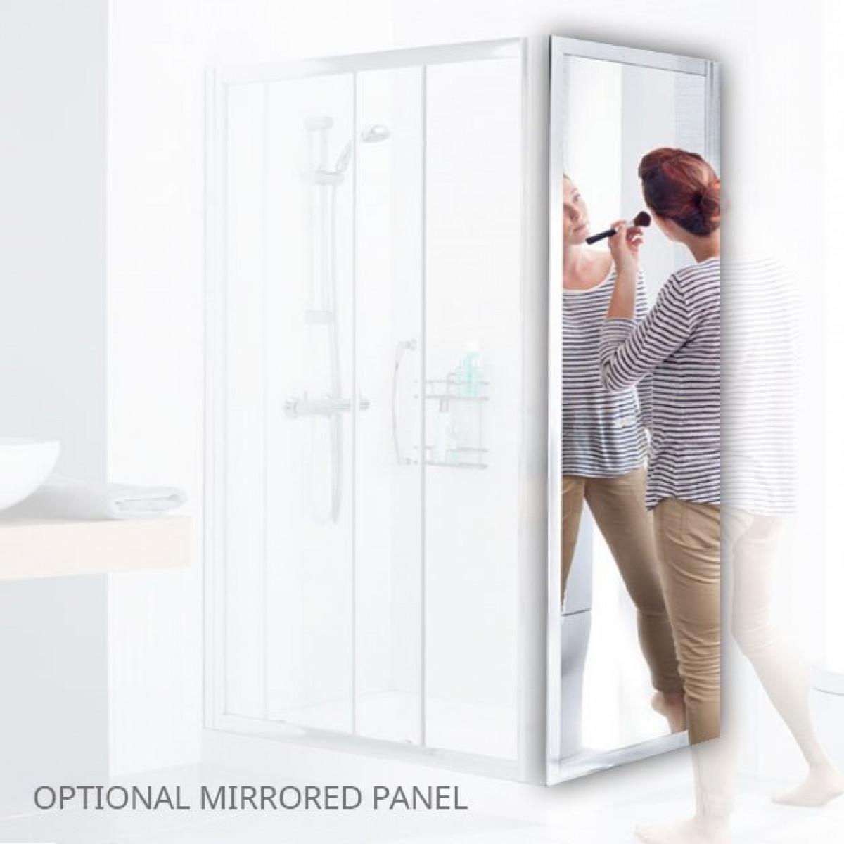 Lakes Mirror 800mm Semi Frameless Pivot Shower Door