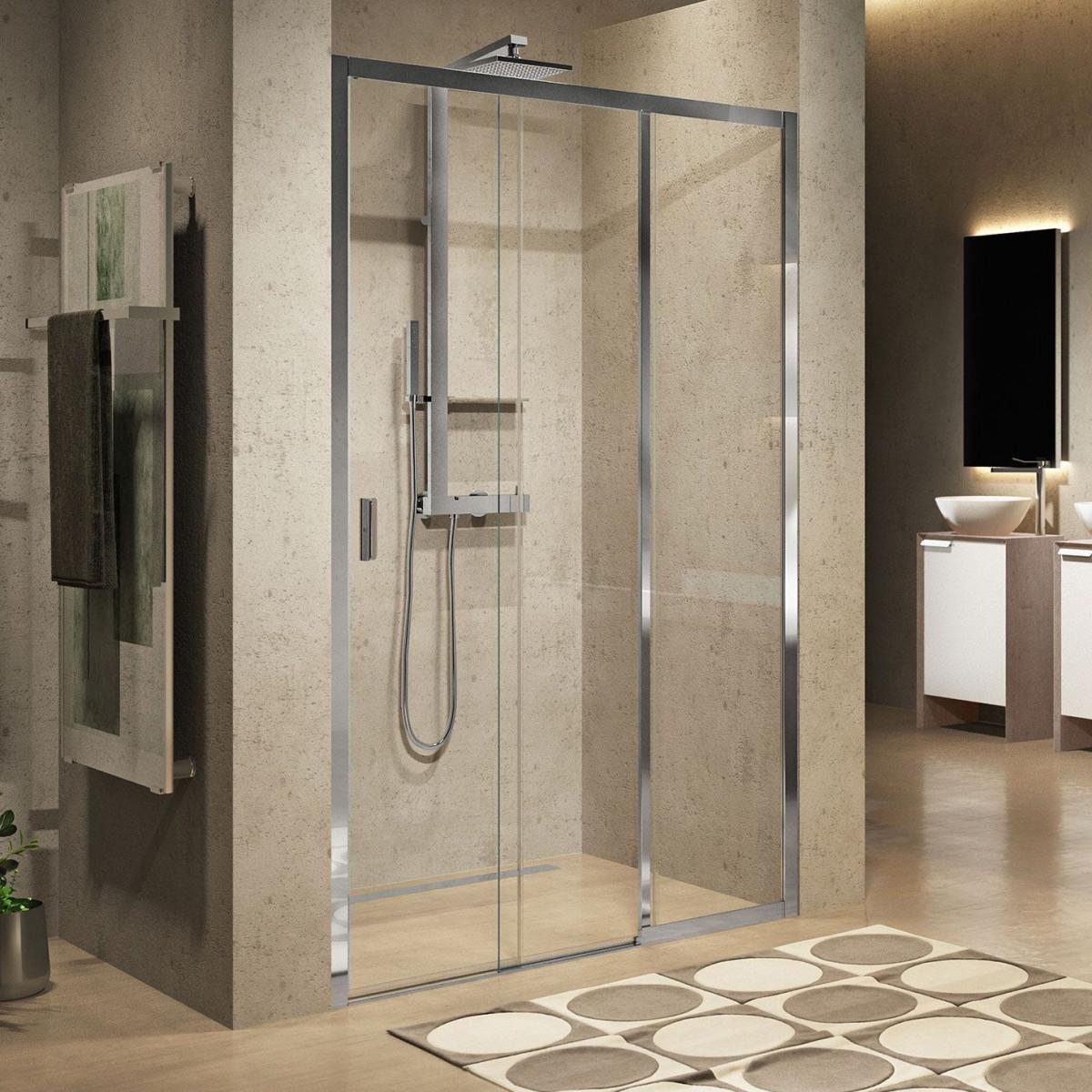 Novellini lunes 2 0 3ph sliding shower doors 1300mm for Novellini shower doors
