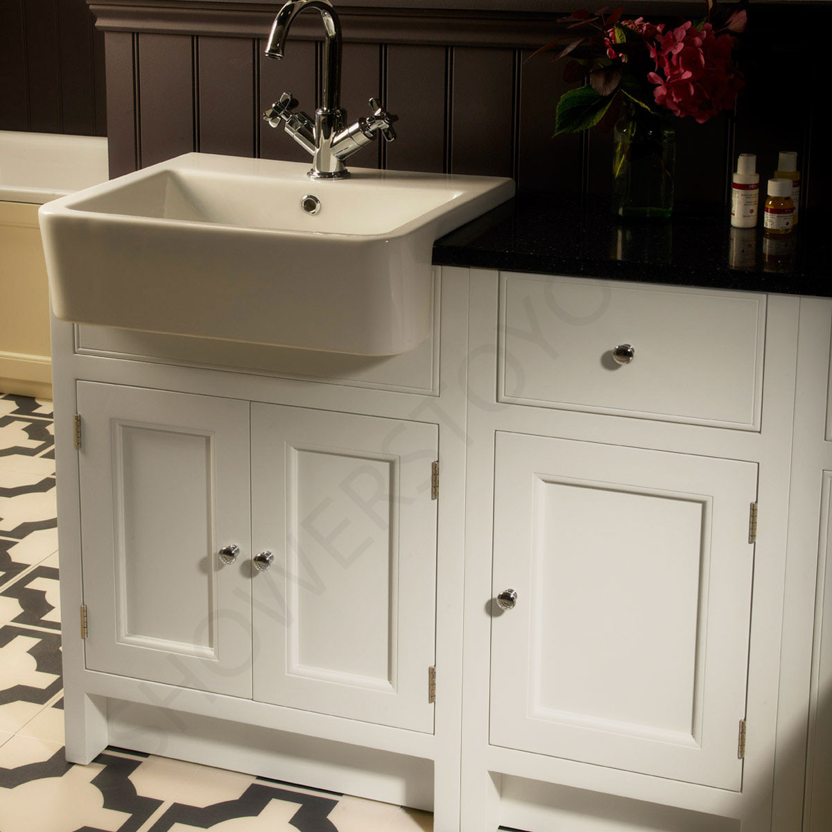 roper rhodes hampton chalk white 600mm semi countertop vanity unit with basin