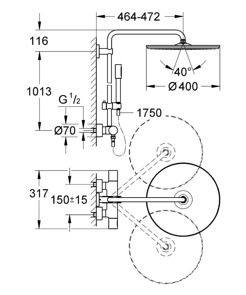 Grohe Rainshower 400 Shower System With XXL Showerhead 27174001