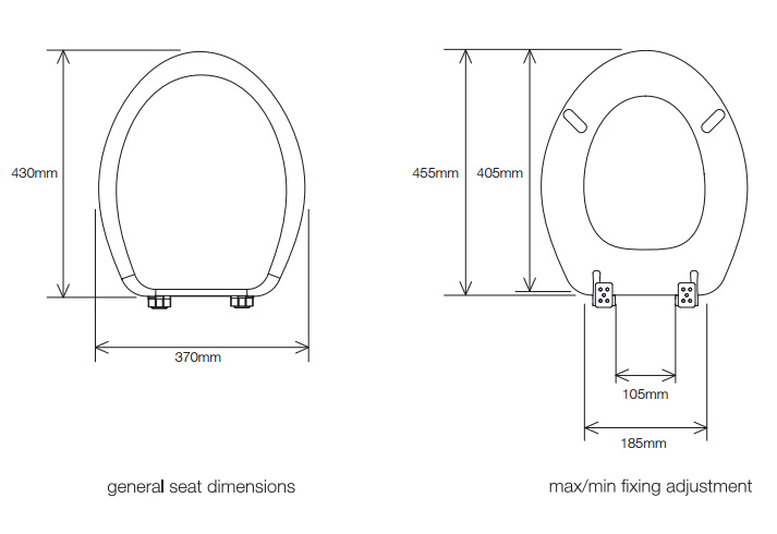 uk toilet seat sizes. Dimensions Roper Rhodes Elite Toilet Seat  Soft Close Quick Release Hinges