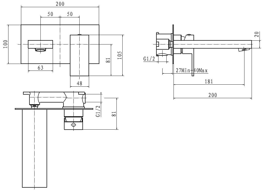 Cassellie Form Wall Mounted Bath Filler Frm005