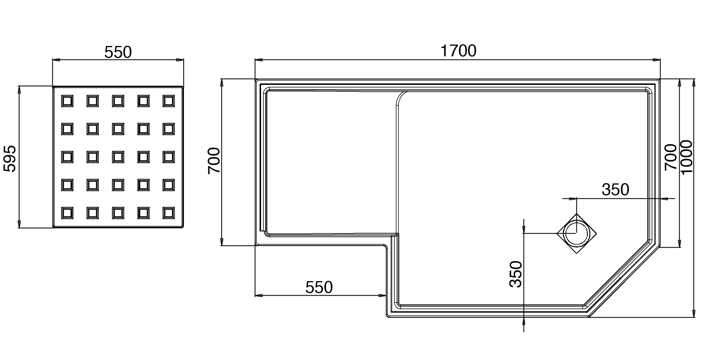 Roman Decemx Angled Walk In Enclosure For Alcove 1700 X