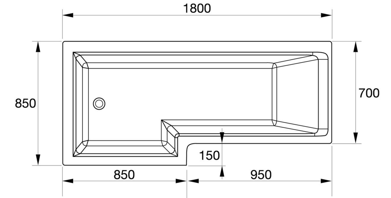 april l shape left hand 1800mm shower bath aquaestil iris shower bath left handed 1800 x 750 900mm