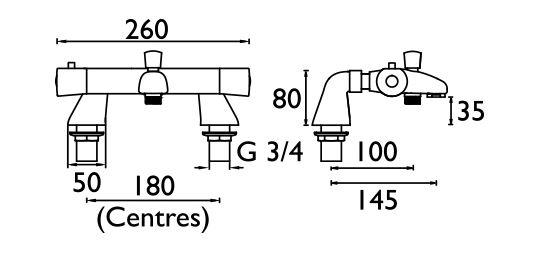 Bristan Artisan Thermostatic Bath Shower Mixer Ar2thbsmc