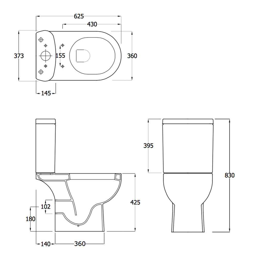 Lily close coupled toilet inc soft close seat ec1003 for Bathroom dimensions
