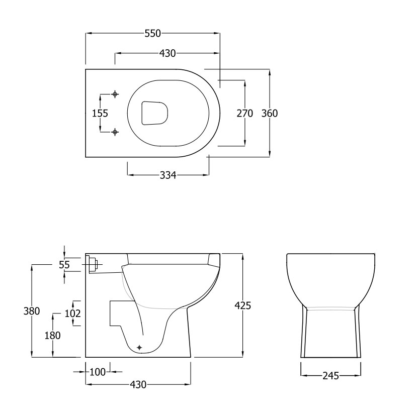 toilet dimensions from wall. Lily Close Coupled Toilet Dimensions Back to Wall Inc Soft Seat  EC1009